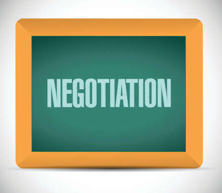negotiation message on a board illustration design over a white background Vector