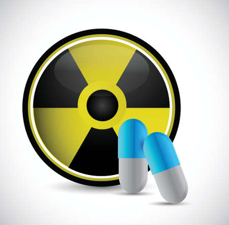 radioactive medicine and pills illustration design over a white background
