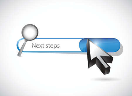 next steps search bar illustration design over a white background