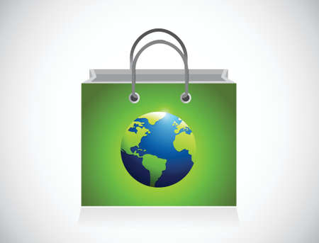 pouch: green globe shopping bag illustration design over a white background Illustration