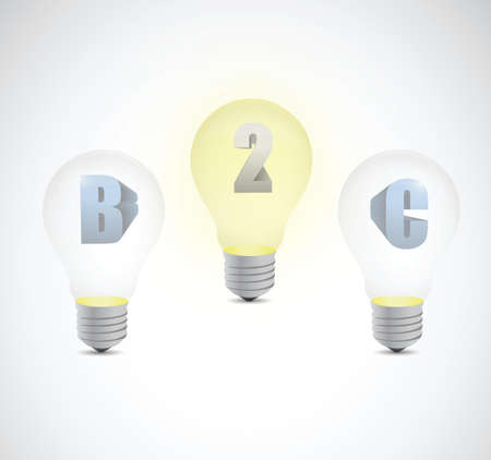 b2c: business two customer light bulb illustration design over a white background