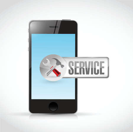 phone and service sign illustration design over a white background