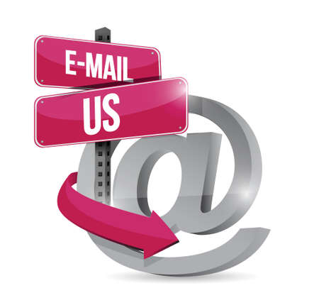 contact info: email us at internet symbol illustration design over a white background