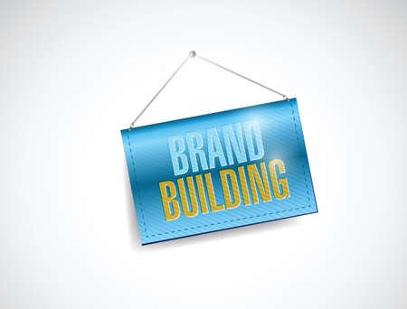 brand building hanging banner sign illustration design over a white background Çizim