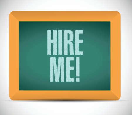 hire me message sign illustration design over a white background