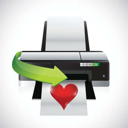 printing a heart illustration design over a white background
