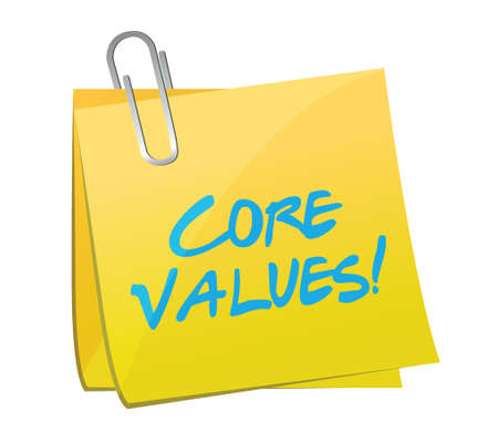 nucleo: valores fundamentales publicar mensajes diseño ilustración sobre un fondo blanco
