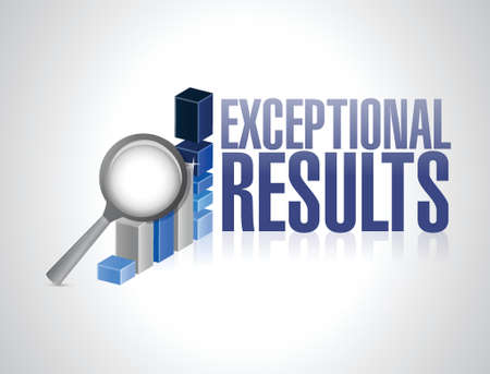 exceptional: exceptional business results graph illustration design over a white background