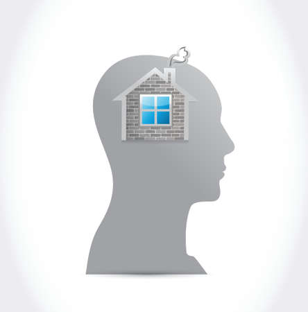 thinking on a home. illustration design over a white background Vector