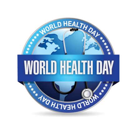 world health day blue seal illustration design over a white background