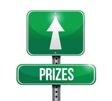 prizes street sign illustration design over a white background Vector