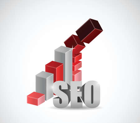 keywords link: seo falling graph. business concept illustration design over a white background