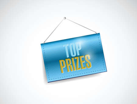 top prizes hanging sign illustration design over a white background
