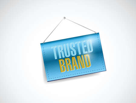 trusted brand hanging sign banner illustration design over a white background Vector