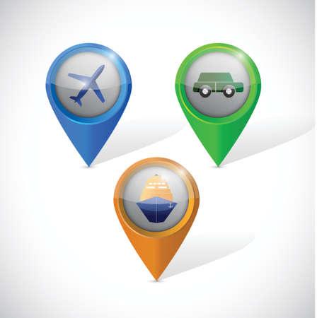 transportation pointers illustration design over a white background