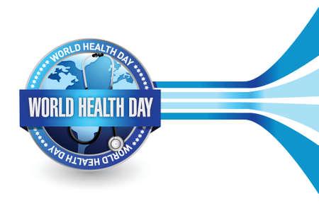 jornada de trabajo: d�a mundial de la salud Dise�o de la ilustraci�n del sello sobre un fondo blanco