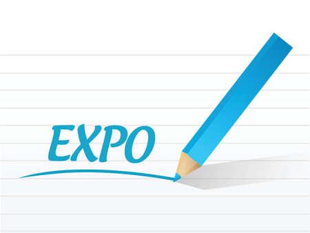 expo bericht teken illustratie ontwerp op een witte achtergrond