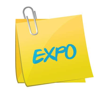 expo bericht post illustratie ontwerp op een witte achtergrond