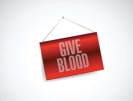 give: give blood hanging sign illustration design over a white background