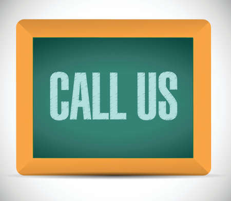 correspond: call us message on a chalkboard. illustration design over a white background