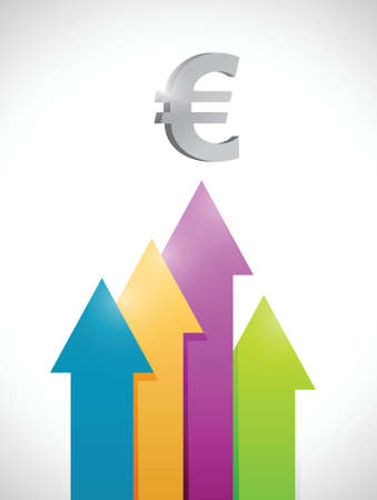 welth: euro colorful business graph moving up. illustration design over a white background