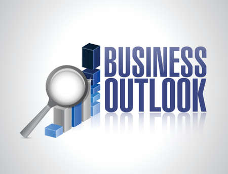 outlook: business outlook business graph and magnify illustration design over a white background
