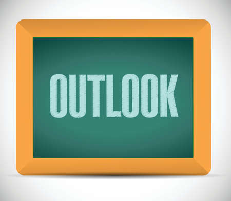 outlook: outlook message on a chalkboard. illustration design over a white background