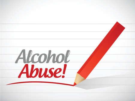 substances: alcohol abuse message light bulb drawing illustration design over a white background Illustration