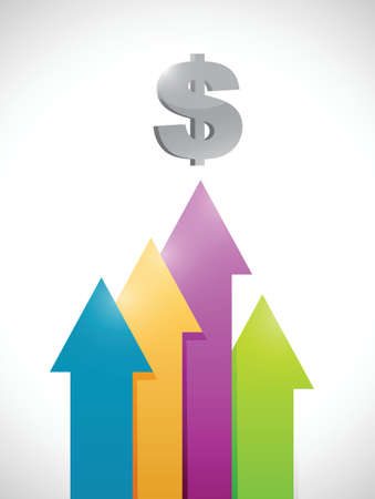 dollar colorful business graph moving up. illustration design over a white background Illustration