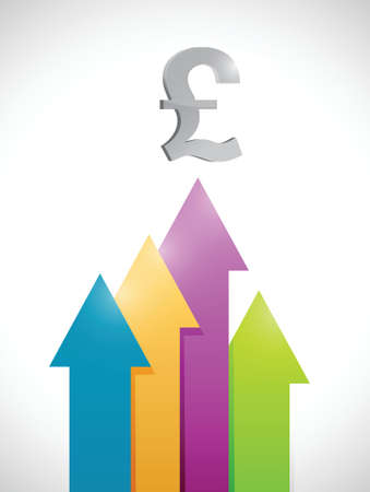 welth: British pound colorful business graph moving up. illustration design over a white background Illustration
