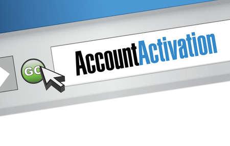 activacion: cuenta mensaje de activaci�n en una barra de b�squeda. ilustraci�n, dise�o,