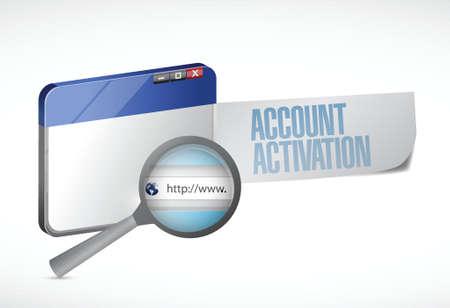 activacion: activaci�n de la cuenta del navegador web ilustraci�n dise�o sobre un fondo blanco Vectores
