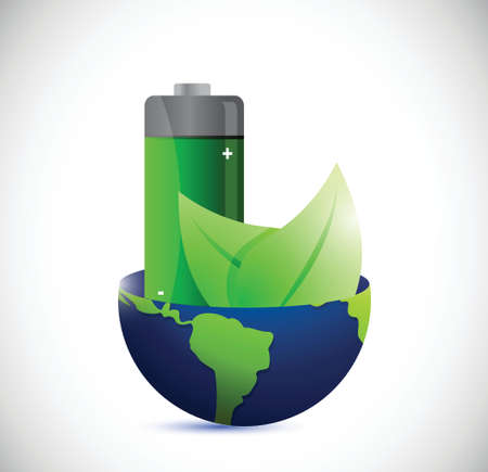 globe and eco battery energy illustration design over a white background Vector