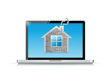 laptop computer and home illustration design over a white background Vector