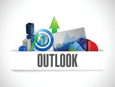 business event: business outlook graphs on a pocket. illustration design over a white background