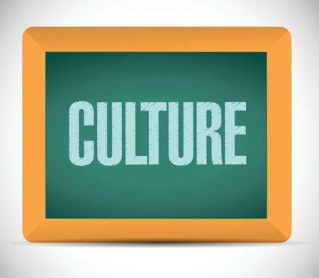 employee satisfaction: culture message on a board. illustration design over a white background
