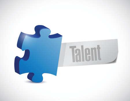 talent puzzle piece illustration design over a white background