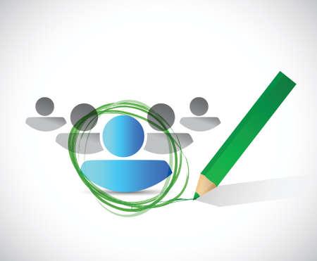 embauche sélection concept design illustration sur un fond blanc