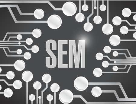 sem: sem circuit board illustration design over a black background