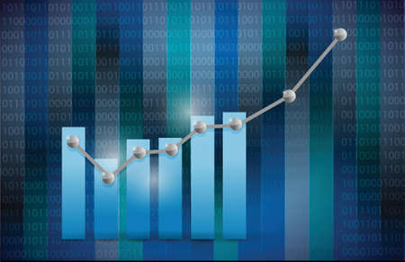 profit and loss: blue business graph illustration design over a binary background