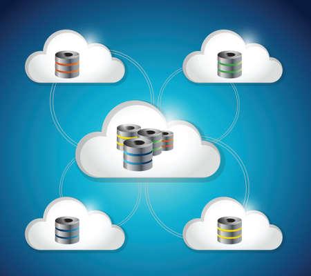 storage: server database storage connection illustration design over a blue background