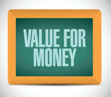 value for money bericht aan boord. illustratie ontwerp op een witte achtergrond