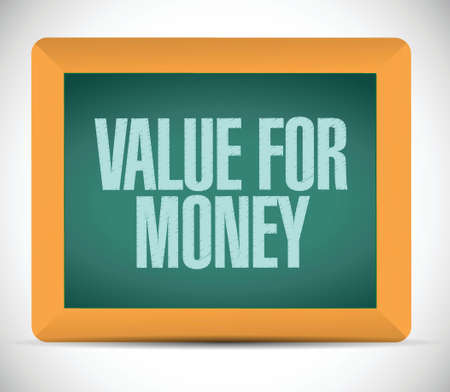 value for money message on board. illustration design over a white background