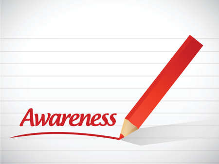 awareness sign message illustration design over a white background Vectores