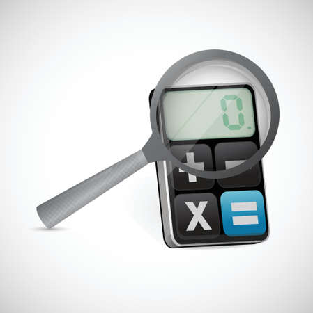 magnify glass over a calculator. illustration design over a white background Illustration