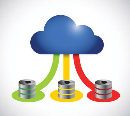 cloud computing computer servers color connection. illustration design over a white background Иллюстрация