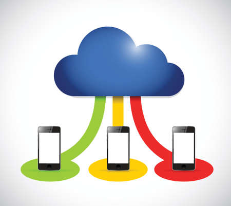 cloud computing smartphone color connection. illustration design over a white background Vector