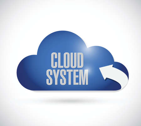 saas: cloud system computing concept illustration design over a white background Illustration
