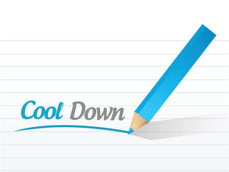cool down: enfr�e mensaje signo ilustraci�n dise�o sobre un fondo blanco