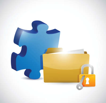 puzzle piece folder and lock illustration design over a white background Vector